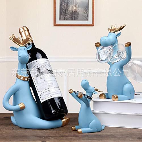LIANYG 3pcs / Set Elk Vino Bastidores Cerveza Titular Ciervos Miniatura Figuras Permanente Whisky Vino Tinto Titular de la Botella de Vino Gabinete for la decoración del hogar botellero Vino 552