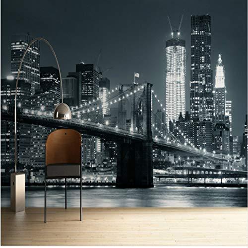 VVNASD 3D Dekorationen Wandbilder Tapete Aufkleber Wand Von Hinten Beleuchtetes Brooklyn Bridge Schwarz Berühmte Wahrzeichen Der Stadt Kunst Mädchen Schlafzimmer (W) 400X(H) 280Cm