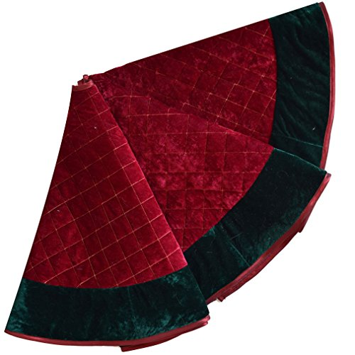 SORRENTO Red velvet diamond quilted embroidery decoration skirt with Green border decoration Christmas tree skirt 36inch(10-15 DAYS DELIVERY)