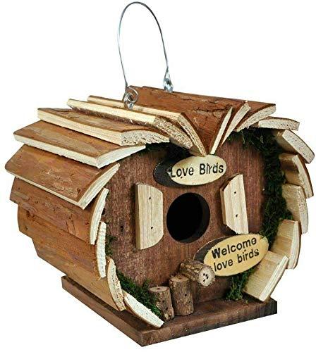 TBD Casa de pájaros colgante de madera con forma de casita para pájaros