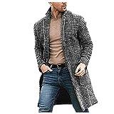 Nuevos Hombres S Abrigo Hombres Casual Moda De Invierno Pata De Gallo Caballeros Abrigo Largo Chaqueta Outwear Tops Para Hombre Blusa Moda-Gray_Xl