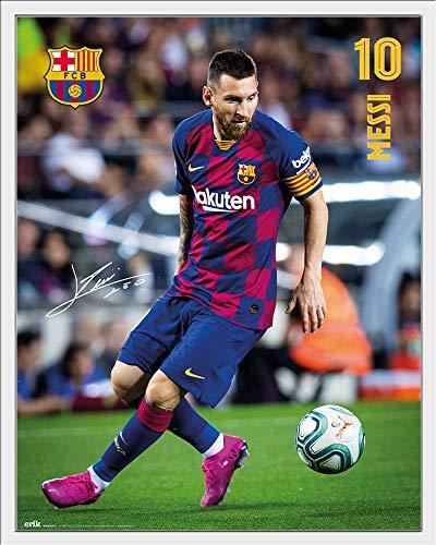 FC Barcelona - Messi 19/20 - Fußball Poster Plakat Druck - Größe 40x50 cm + Wechselrahmen, Shinsuke® Maxi Kunststoff Weiss, Acryl-Scheibe