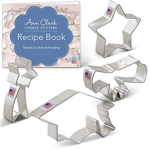 Ann Clark Cookie Cutters 4-Piece Graduation Cookie Cutter Set with Recipe Booklet, Graduation Cap, Diploma, Star, Shooting Star
