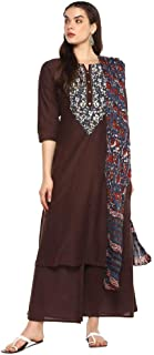 STOP by Shoppers Stop Womens Notched Neck Embroidered Palazzo Suit