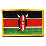 """The Flag of KENYA PATCH, Superior Quality Iron-On/Saw-On Embroidered Patch - Each one is individually carded and sealed in a professional retail package - 3.5"""" x 2.25"""" Inches - Made in the USA"""