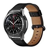 iBazal Correas Galaxy Watch 46mm Cuero 22mm Bandas Piel Pulseras Compatible con Samsung Gear S3 Frontier Classic Reemplazo para Huawei Watch 2 Classic/GT 46mm/Honor Magic,Ticwatch Pro/E2/S2 - Negro