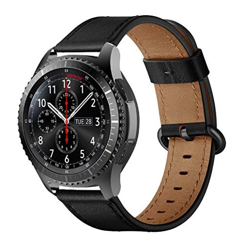 iBazal Bracelet Galaxy Watch 46mm Cuir 22mm Bandes Compatible avec Samsung Galaxy Watch 3 45mm/Gear S3 Frontier Classic Band Remplacement pour Huawei Watch GT 46mm,Ticwatch Pro/E2/S2 - Noir