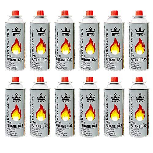 Mianova Gaskartuschen 227g Butan Gas | Bunsenbrenner Campingkocher Kocher Gaskocher Camping Gasheizung Grill Gasbrenner Lötlampe Set 12 Gasflaschen