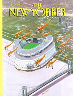 New Yorker cover Bruce McCall transplant Yankee Stadium by helicopter 10/18 1993