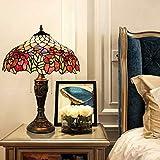 AIBOTY Tiffany Stil Tischlampe 16 Zoll Blumen Bunt Glaslampe Schattierungen Vintage Pastoralen Schreibtischlampe für das Lesen von Arbeiten Dekorieren