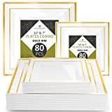 """Disposable Plastic Plate Set - 80 Pack Dinnerware with 10.25"""" Dinner and 7.5"""" Salad Plate (40 Count Each) with Elegant Gold Trim for Wedding, Birthday, Party - by Elite Selection"""