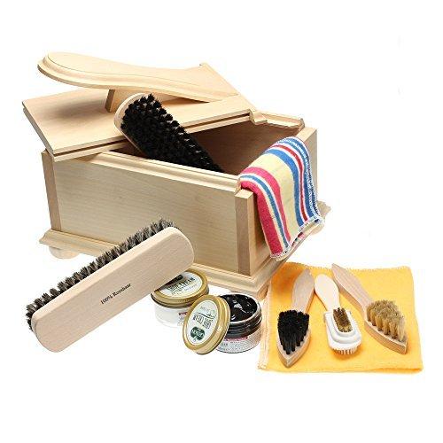 Langlauf Chaussure Soin Boite II -économique- avec Repose-Pieds et Cuir Accessoires, Professionnel Brillant kit. Haute Qualité Produit fabriqué en Allemagne! by Schuhbedarf - FSC 100%