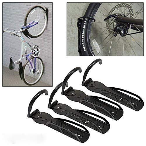ADEPTNA Set of 4 Heavy Duty Vertical Wall Mounted Bicycle Storage Hanging Hooks Suitable For Indoor Or Outdoor Use