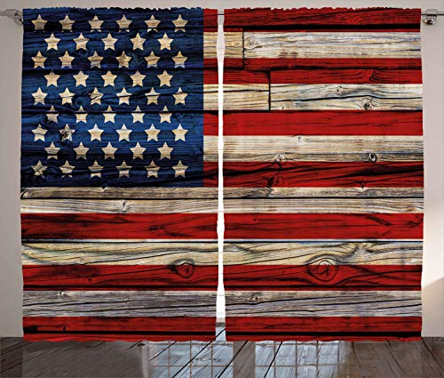 """Ambesonne 4th of July Curtains, Wooden Planks Painted as United States Flag Patriotic Country Style, Living Room Bedroom Window Drapes 2 Panel Set, 108"""" X 84"""", Red Beige"""