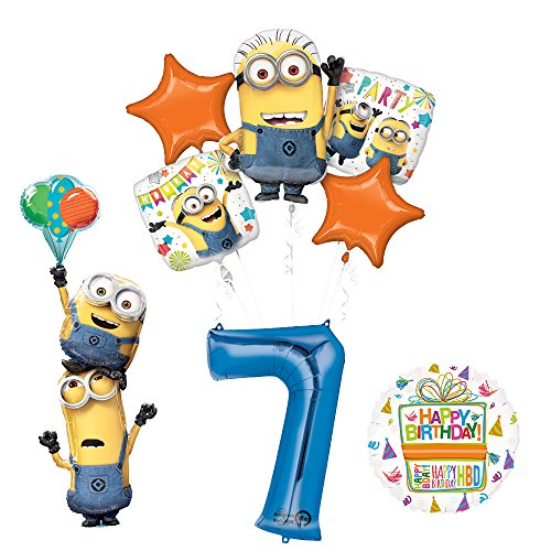 Mayflower Products Despicable Me 3 Minions apiladores para Fiesta de 7º cumpleaños y Decoraciones de Globos