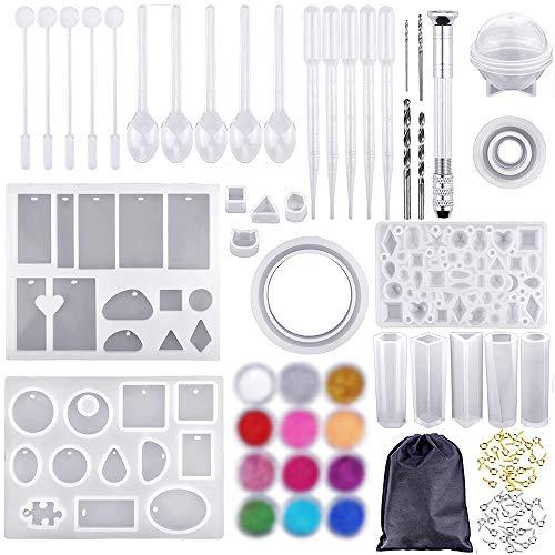 IWILCS Set van 83 epoxyhars-vormen, epoxyhars-set, set van kunsthars, voor het maken van sieraden, hangers…