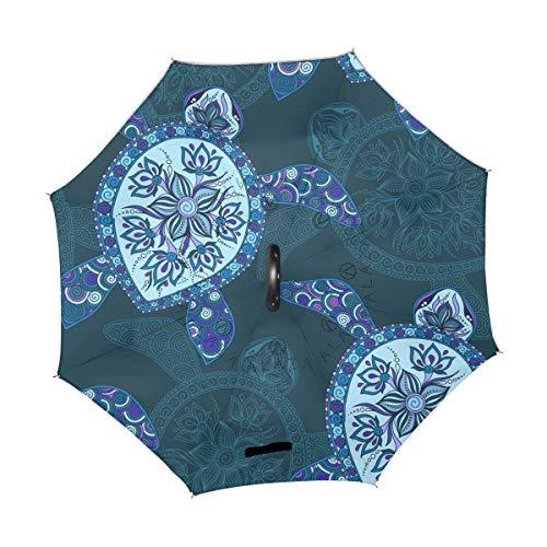 XiangHeFu Double Couche symétrie inversée parapluies Bleu Tortue de mer Vintage Marine Pliant Coupe-Vent Protection UV Big Droit pour Voiture avec poignée en Forme de C