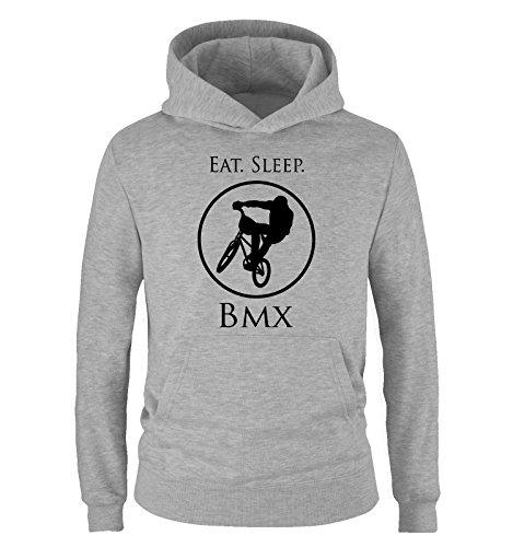 Comedy Shirts - EAT. Sleep. BMX - Kinder Hoodie - Grau/Schwarz Gr. 134/146