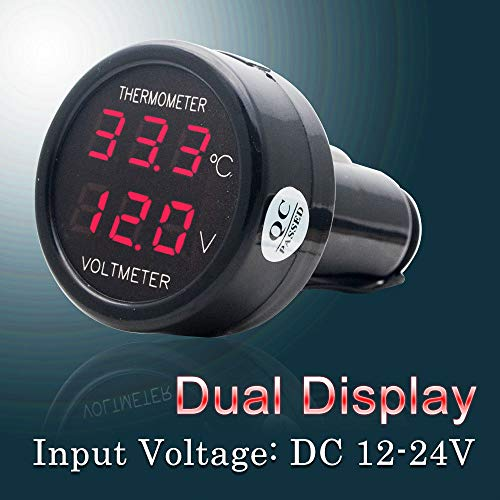 Voltmeter & Thermometer 2 in 1 MASO digital anzeige Auto Batterie Spannung temperatur Gauge Monitor Tester Meter voltmesser DC 12V 24V