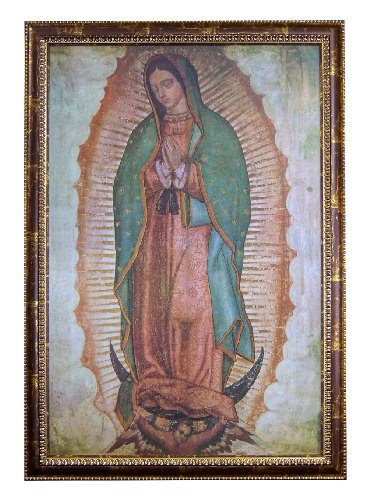"Our Lady of Guadalupe, the Virgin of Guadalupe Virgin Mary 24""x36"" Framed Religious Print Poster (J1-1000-CopperAcid)"