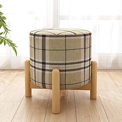 WOLF ES Ronde comfortabele gewatteerde trommelkruk van hout voor benen, met een wasbare, afneembare houten kruk, voetenbankje, 4 poten