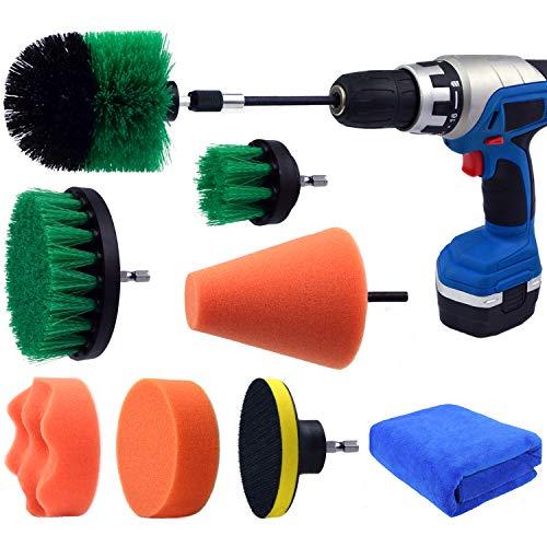 Multipurpose Drill Brush Scrubber Cleaning Set for Car Wheels, Car Seats, Car Carpet Medium Stiff Brushes, Car Wave Polishing Sponge, Wheels Tiles Hubs Care Power Cone Buffing Sponge, 9PCS/Set