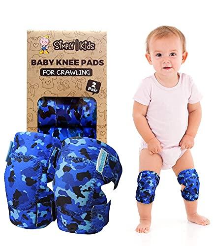 Simply Kids pads rodilla del bebé para el rastreo (2 pares) | protector para el niño, niño, niña, niño (océano camo)