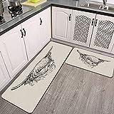 2 Pezzi Tappetini Cucina Antiscivolo,Mucca dell'altopiano Tappeto in Microfibra Set, Resistente Tappetino zerbino Lavabile