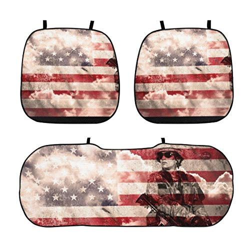 GREATN Soldier with Rifle On Us Flag Car Seat Cushion Breathable Car Interior Seat Cover Durable Printed Non Slip Pad Mat Sun Uv Rays Proof Cushions for Auto Truck SUV Van