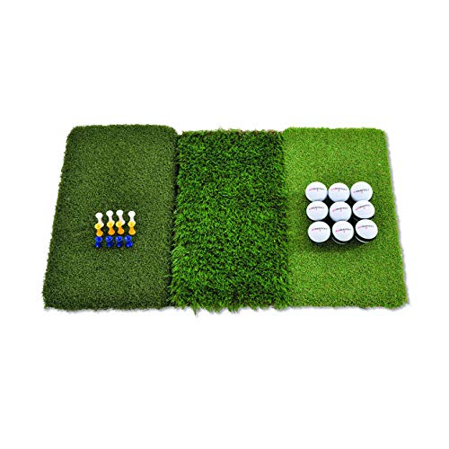 Rukket Tri-Turf Golf Hitting Mat Attack | Portable Driving, Chipping, Training Aids for Backyard...