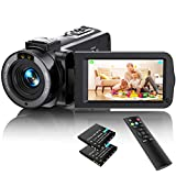 Video Camera Camcorder Full HD 1080P 36MP 30FPS Digital YouTube Vlogging Camera Video Recorder with Night Vision 3.0 Inch 270 Degree Rotation IPS Screen 16X Zoom Remote Control, 2 Batteries