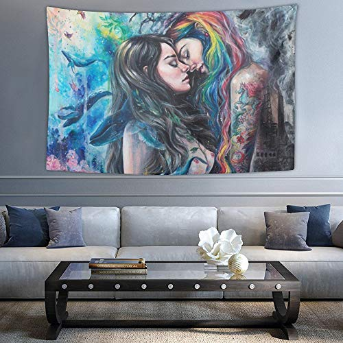 SUNH0ME Goth Gothic Girl Lace Love LGBT Lesbian Pride Tapestry Hippie Art Tapestry Wall Hanging Home Decor Extra Large tablecloths 40x60 inches for Bedroom Living Room Dorm Room
