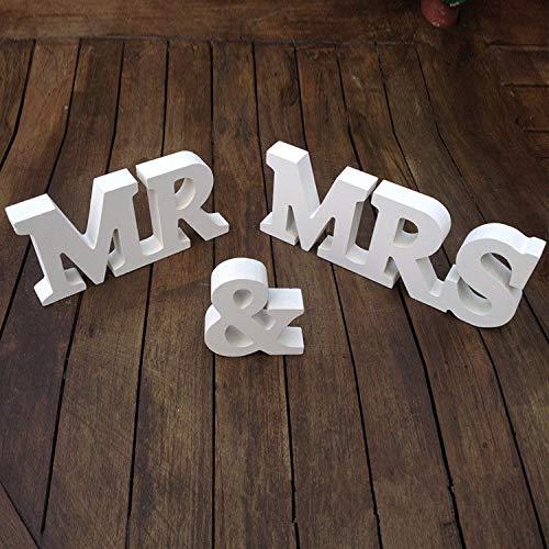 Musuntas Dekoration Hochzeit aus Holz, Mr & Mrs Holz Buchstaben, Hochzeitsgeschenk 21cmX 10cm X 1.5cm