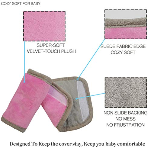 Car Seat Strap Pads Covers for Baby Kids, Seat Belt Covers Cushion for boy Girl, Protect Neck and Shoulder rubbing, Anti-Slip Design, Universal for Stroller/Carrier/Pushchair; Pink