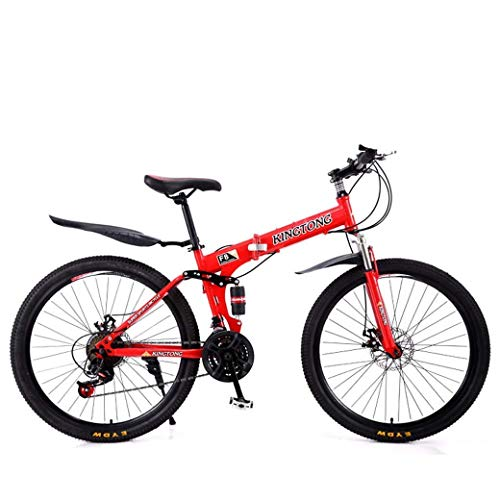 KEKEYANG Outdoor Outdoor Sports Mountain Bike Folding Bikes, 27Speed Double Disc Brake Full Suspension Antislip, Lightweight Aluminum Frame, Suspension Fork, Multiple Colors24 Inch/26 Inch Bike