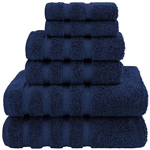 American Soft Linen, 100% Turkish Cotton 6 Piece Towel Set, Absorbent, Durable, Soft & Fluffy, Hotel & Spa Bathroom Towels, 610 GSM, 2 Bath 2 Hand 2 Wash Towels (Bath Linen Set, Navy Blue)