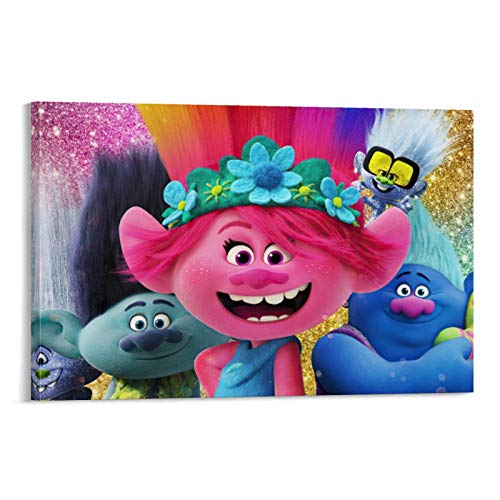 crownee Paintings On Canvas Prints Trolls World Tour Movie Characters Wall Art Poster for Wall Decor 18x12inch(45x30cm)