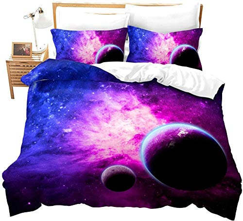 DUVETWEI Duvet Cover Set 3 Pieces Printed Bedding Quilt Duvet Cover with Zipper and 2 Pillowcases Ultra Soft Microfiber (1 Duvet Cover 260x220 cm /2 Pillow Cases 50x75 cm)Purple galaxy starry sky lan