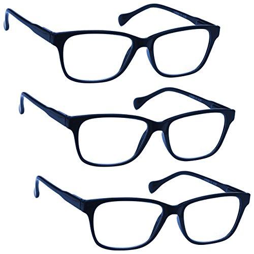 Uv Reader Blu Navy Leggero Occhiali Da Lettura Valore 3 Pacco Stile Designer Uomo Donna Astuccio Compreso Uvr3Pk027 +3,00 - 88 Gr