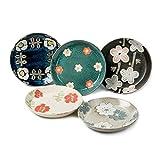 Vajilla de Plato de Cena Flor de la serie nórdica Placa de 5,5 pulgadas del plato de cerámica de estilo japonés Bone Plato Pequeño mariposa plato de cerámica placa de postre fruta de la placa 5 Piez