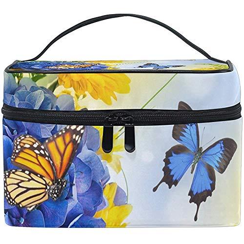 Fleurs Papillons Digital Hydragea Daisies Bleu Cosmétique Sac Voyage Maquillage Train Cas De Stockage Organisateur