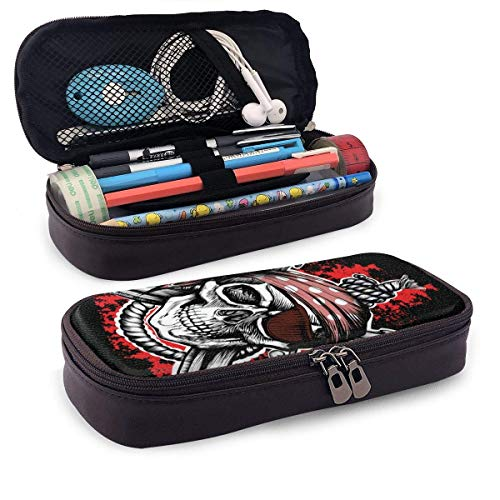 Lawenp Black Jolly Roger Skull Leather 3D Nano Printed Pencil Case Pouch Zippered Cute Pen Pencil Case Box School Supply for Students,Big Capacity Stationery Box for Girls Boys and Adults