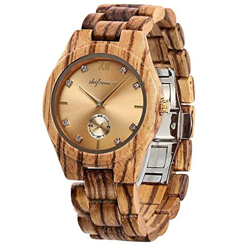 shifenmei Holzuhren für Damen, Holzuhren Japanisches Uhrwerk Leichte analoge Quarz Holzarmband Handmade Business Luxuriöse Frauen Holzuhren (Zebra Wood-Gold)