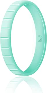 WIGERLON Womens Silicone Wedding Ring &Rubber Wedding Bands,Skin Safe for Workout and Sports Width 3mm