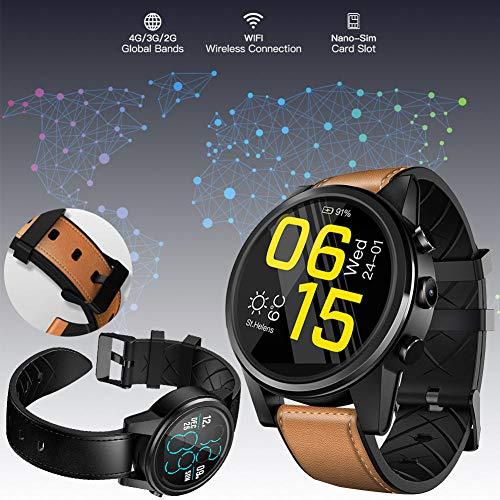 ZFXXN Multitouch-Bildschirm Lederuhr Smart Watch, Quad-Core 16GB 600mAh, mit 5,0 MP Kamera, SIM WiFi Herzfrequenz-Bewegung, für Ios Android,Brown