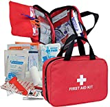 First Aid Kit - 230 Piece - for Car, Home, Travel, Camping, Office or Sports   Red Bag / Reflective Cross, Fully Stocked with Essential Supplies for Emergency and Survival