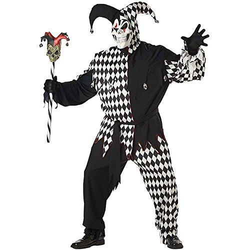 Generique - Böser Clown-Kostüm für Herren Harlekin Halloween-Kostüm schwarz-Weiss - XXL