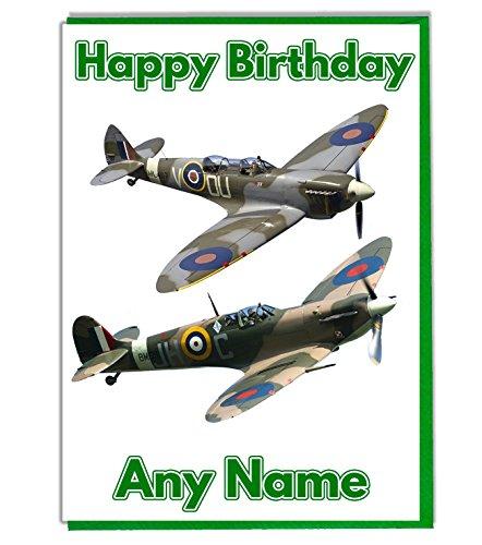 Gepersonaliseerde Spitfire militaire vliegtuigen thema verjaardagskaart - vader - opa - broer - oom - vriend - voeg een naam en leeftijd