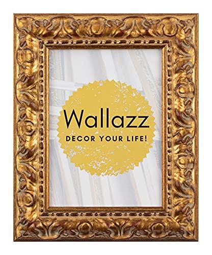 Wallazz Cornice PORTAFOTO in Legno da Parete, Made in Italy, Stile Classico, Dimensione 40X60 CM, Colore Oro
