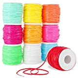 Plastic Lacing Cord, Jewelry Making Supplies, 10 Neon Colors (2.5 x 1mm, 50 Yards, 10-Pack)
